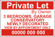 House or Property To Let  By Owner Sign