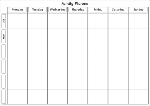 Magnetic Fridge Family Planner for the Week with 6 rows, 6 names can ...