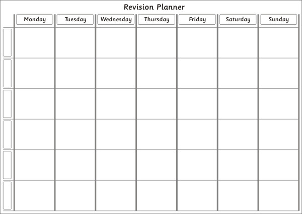 sample revision timetable
