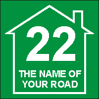House Number and Road Name Vinyl Sign for Wheelie Bins